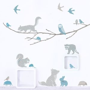Woodland Animals On Branch Wall Sticker - wall stickers