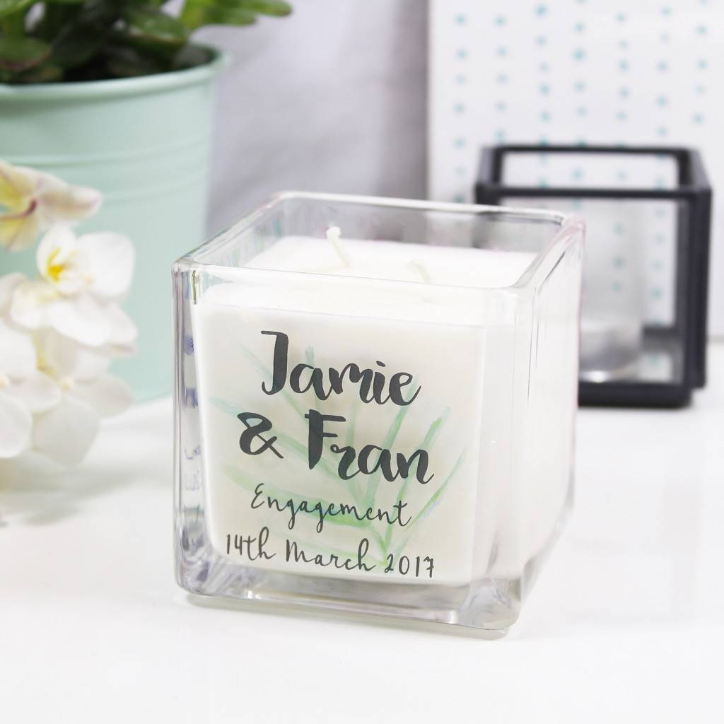 Personalised Engagement Botanical Square Scented Candle