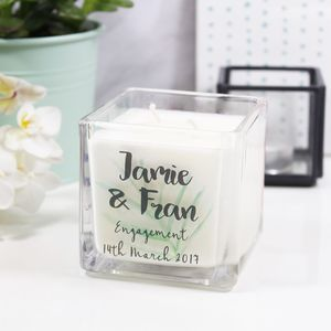 Personalised Engagement Botanical Square Scented Candle - home sale