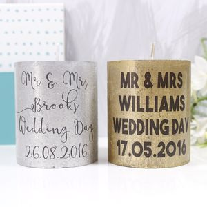 Personalised Wedding Metallic Candle Gift - table decorations