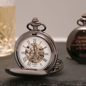 Engraved Gun Metal Pocket Watch Twin Opening - mens