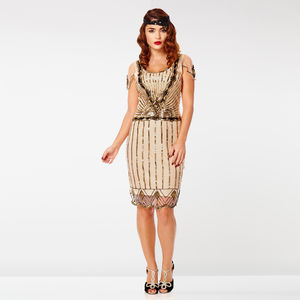 Gatsbylady Eva Flapper Art Deco Dress In Nude Blush - flapper dresses