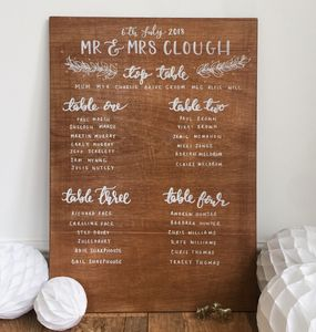 Personalised Wooden Table Plan - natural artisan styling