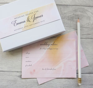 Blush And Gold Wedding Advice Cards
