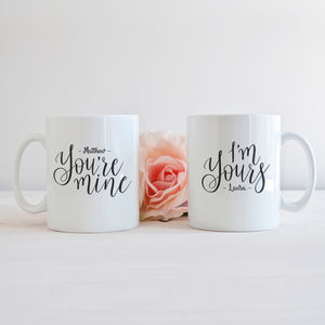 Personalised 'I'm Yours, You're Mine' Couples Mug Set - dining room