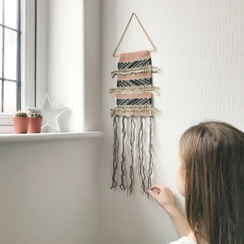 Boho Knitted Wall Hanging On Copper Triangle