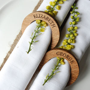 Personalised Oak Napkin Rings - table decorations