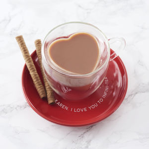 Personalised Heart Shaped Mug And Saucer - cups & saucers