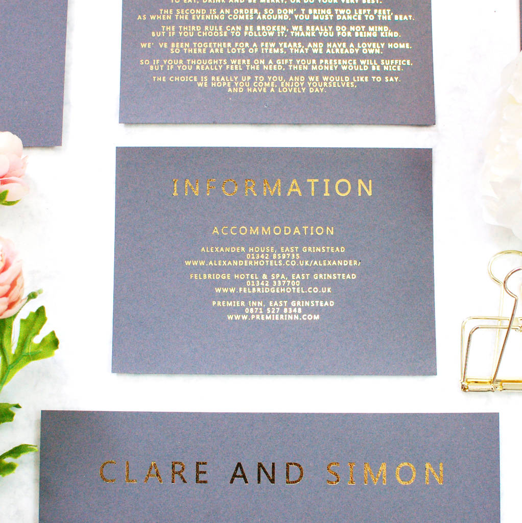 Grey And Gold Foil Bespoke Wedding Invitation By Made With