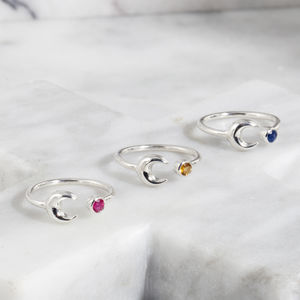 Birthstone Ring With Moon Detail - rings