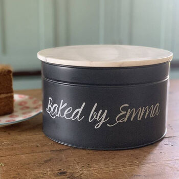 Personalised Cake Tin With Marble Top
