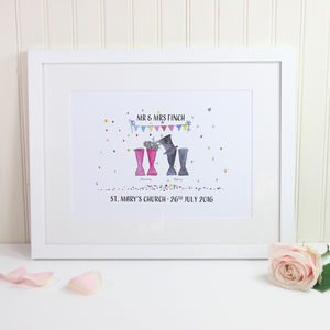 Wedding Edition Personalised Welly Boot Print - art & pictures