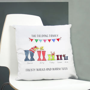 Christmas Welly Boot Personalised Cushion Cover - personalised gifts for families