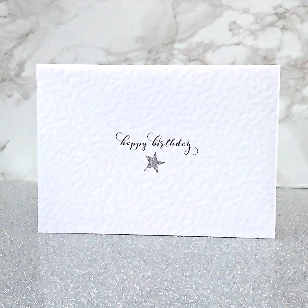 Calligraphy And Star Happy Birthday Card