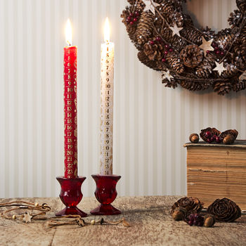 Advent Candles Red And White Pair