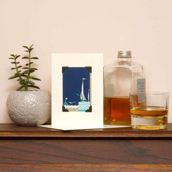 Father's Day Art Deco Vintage Card: Sailing Boat
