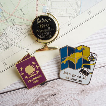 Three Adventurous Enamel Pins
