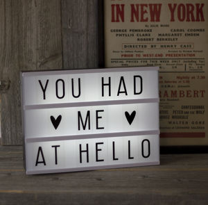Retro Cinema Lightbox - valentine's gifts for her