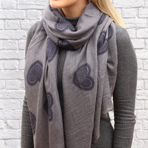 Personalised Navy And Grey Supersoft Heart Scarf