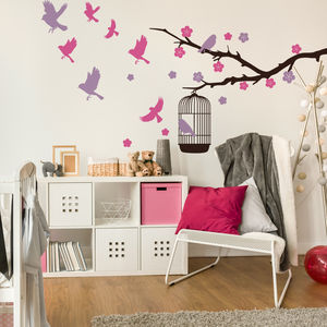 Branch And Birdcage Wall Stickers - home decorating