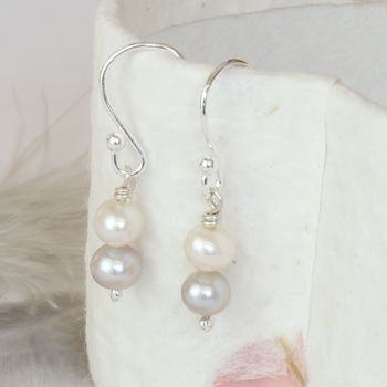 Handmade Scandi Style Ivory Grey Pearl Drop Earrings