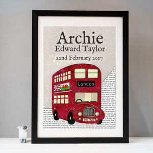 Personalised Birth Date Red Bus Print - new baby gifts