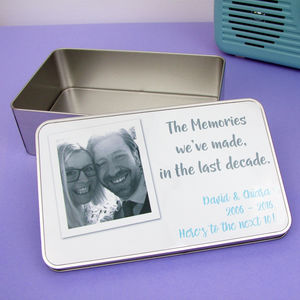 Anniversary Photo Personalised Tin - storage & organisers