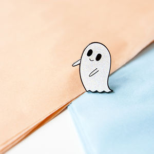 30mm Glittery Ghost Enamel Pin/Brooch - pins & brooches
