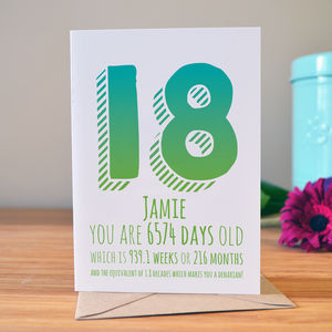 18th Birthday Milestone Card - special age birthday cards