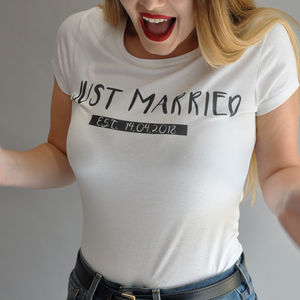 'Just Married' Hand Pressed T Shirt - women's fashion