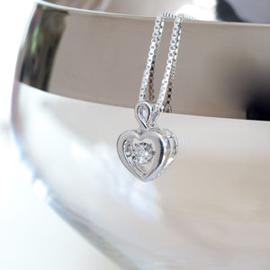 9ct White Gold 0.06ct Dancing Diamond Heart Necklace*