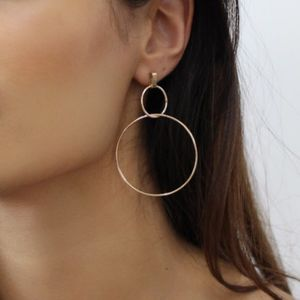 Gold Interlinked Hoop Earrings - earrings