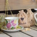Personalised Teacup Bird Feeder With Bird Seed Bag