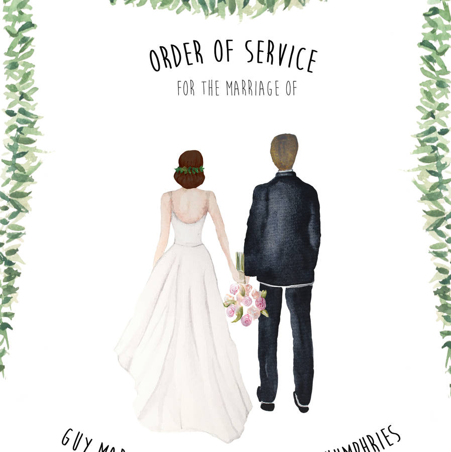 personalised couple illustration wedding invitation by beija flor