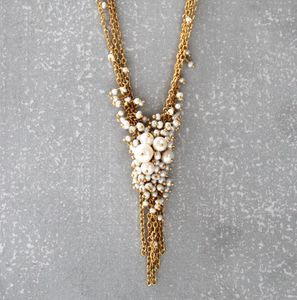 Pearl And Gold 'V' Tassel Necklace
