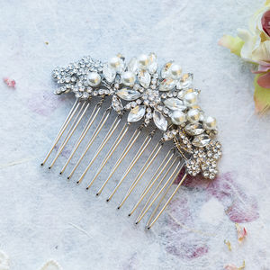 Bette Crystal And Pearl Hair Comb - wedding fashion
