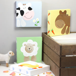 Farm Original Animal Canvas, Hand Painted - easter home