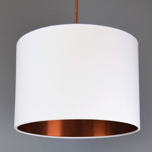 Brushed Copper Lined Drum Lampshade 40 Colours