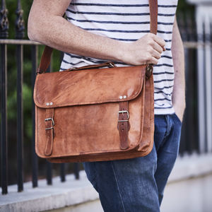 Vintage Style Leather Laptop Bag - cross-body bags