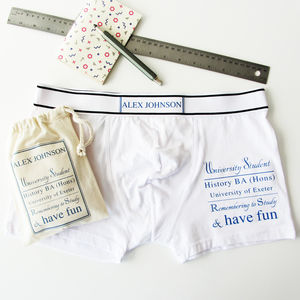 'Student Name And Course', Personalised Men's Pants - underwear & socks