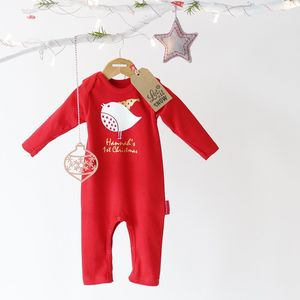 Personalised 'Robin' 1st Christmas Romper With Gift Box - gifts for babies & children sale