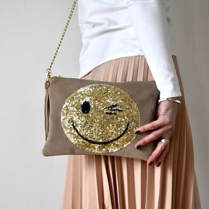 Suede Smiley Bag