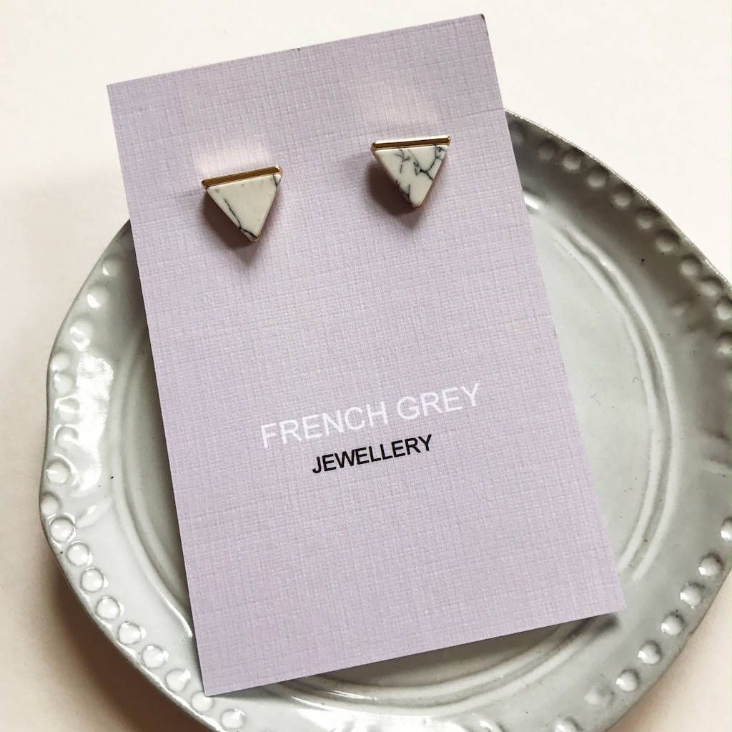 Triangle Marble Effect Earrings By French Grey Interiors