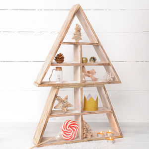 Wooden Display Shelf Christmas Tree - shelves