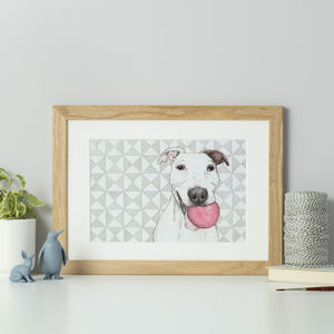 Personalised Geometric Background Pet Portrait - pet portraits