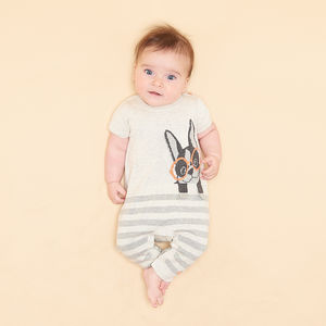 Dax Surf Dog Intarsia Baby Playsuit