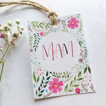 Hand Lettered Floral 'Mum' Or 'Mam' Gift Tag