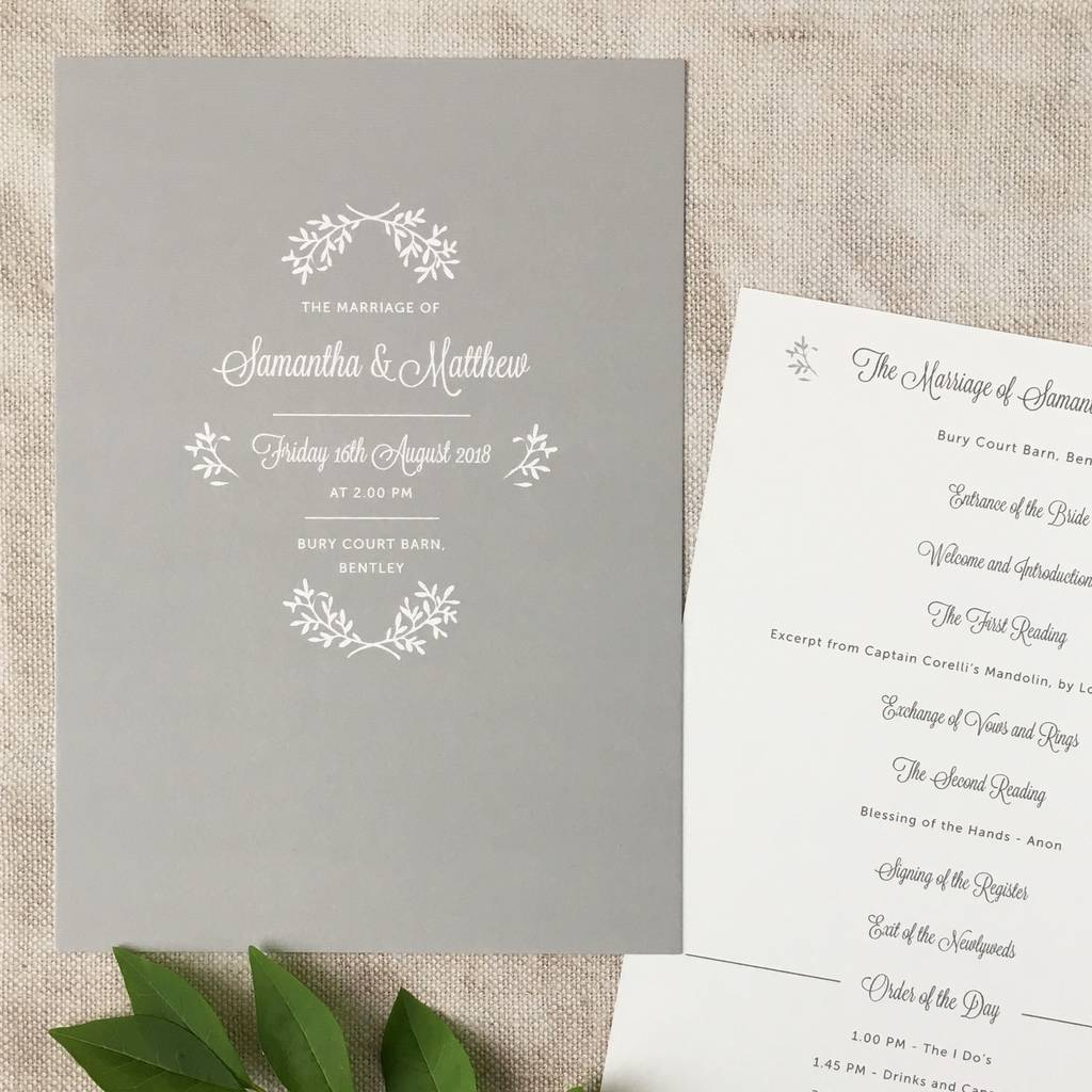 perfect day wedding order of service by pear paper co ...
