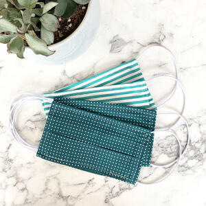 Pack Of Four Teal And White 100% Cotton Face Mask