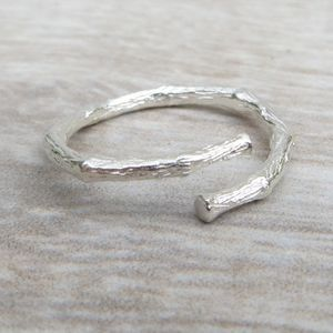 Adjustable Silver Twig Ring